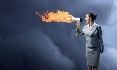 business woman cooks shouting into a megaphone, megaphone fire
