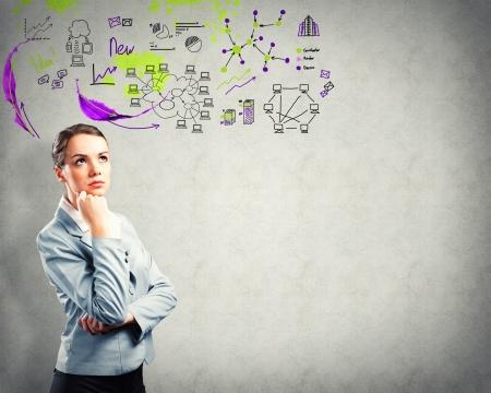 denken zakenvrouw, schets op de achtergrond Stockfoto