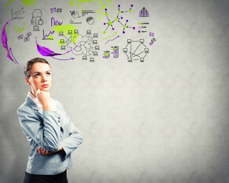 Pensamento da mulher de negócios, esboço no fundo Imagens