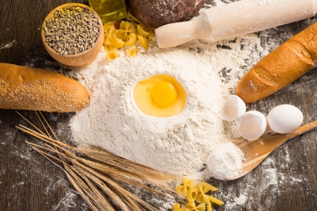 flour, eggs and wheat photo