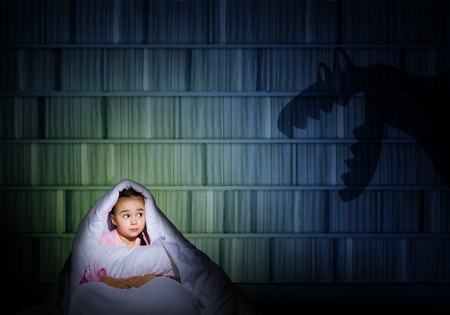image of a girl under the covers with a flashlight the night afraid of ghosts photo