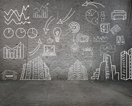 image of a painted on the wall charts, symbols and diagrams photo