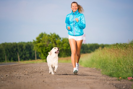 young woman with labrador running on a country road, outdoor training photo