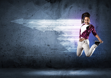 dancing girl: image of a young woman dancing hip-hop, collage Stock Photo