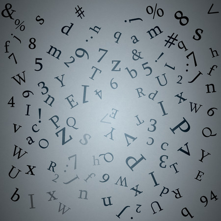 Background image with letter and numbers on grey backdrop photo