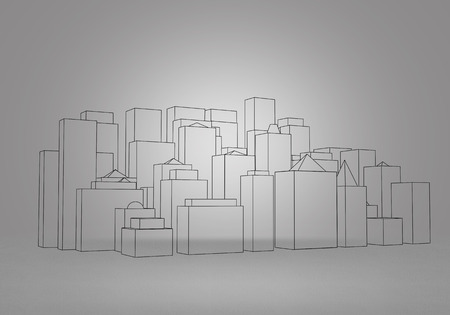 construction project: Background image with sketch of construction project