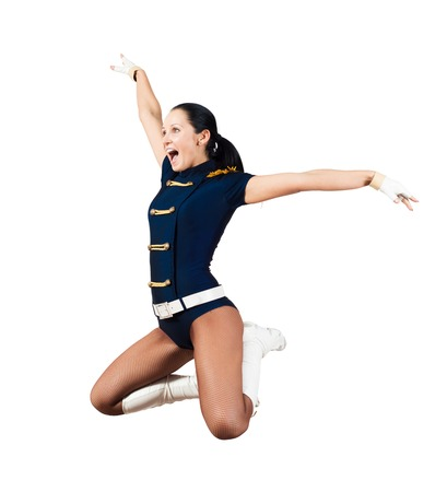 image of a athletic young woman jumping, isolated on white background photo