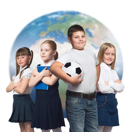 diferentes profesiones: Los ni�os en edad escolar, intentando m�ltiples profesiones. Foto de archivo