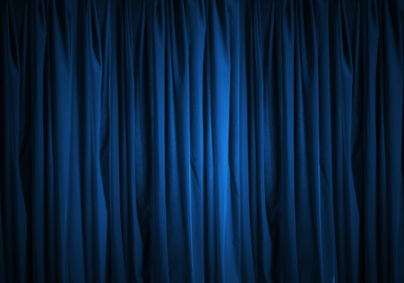 curtain: Background image of blue velvet stage curtain
