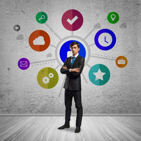 e systems: Thoughtful businessman and color application icons at background