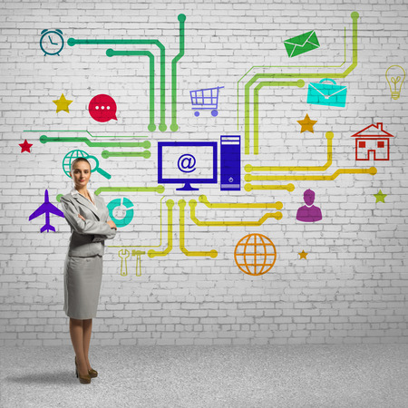e systems: Businesswoman and color application icons at background Stock Photo