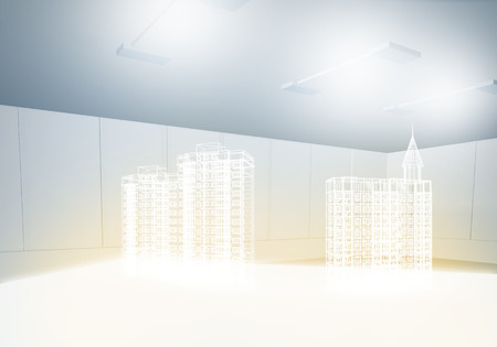 3 d: image with 3 d construction digital model Stock Photo