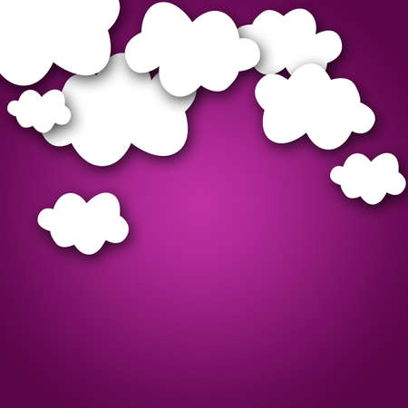 white clouds: Set of various white clouds on purple background
