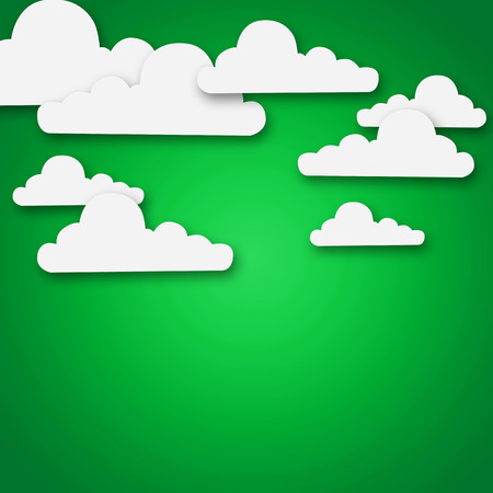 white clouds: Set of various white clouds on green background