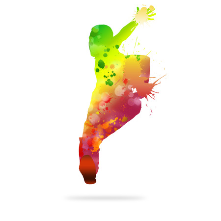 Image with color silhouette of dancer on white background photo