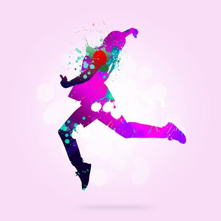danseuse: Image avec des couleurs silhouette de danseur sur fond de couleur Banque d'images