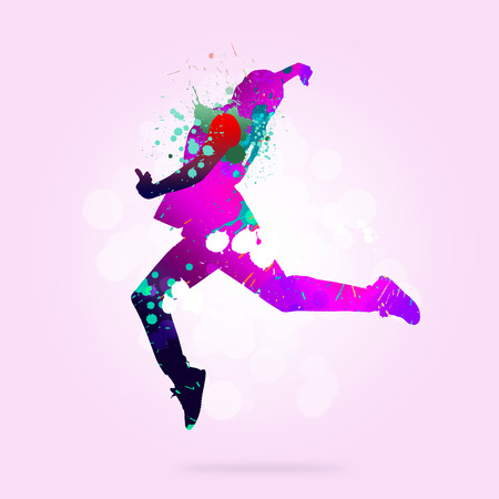dancers silhouette: Image with color silhouette of dancer on color background