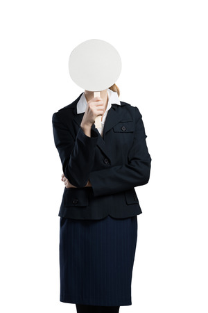 coward: Businesswoman hiding her face behind round banner with smiley
