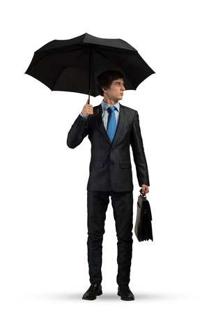 color consultant: Businessman with umbrella isolated on white background Stock Photo