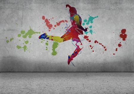 Afbeelding met kleur silhouet van danser op grijze muur