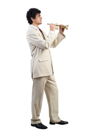 fife: Cheerful businessman playing fife isolated on white background