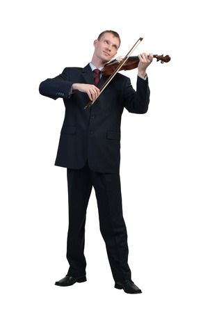 violin background: Young businessman isolated on white background playing violin