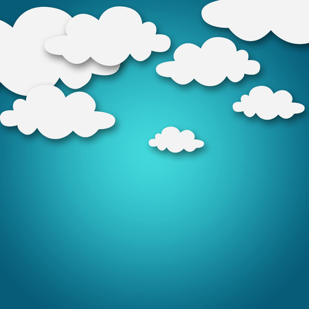 white clouds: Set of various white clouds on blue background Stock Photo