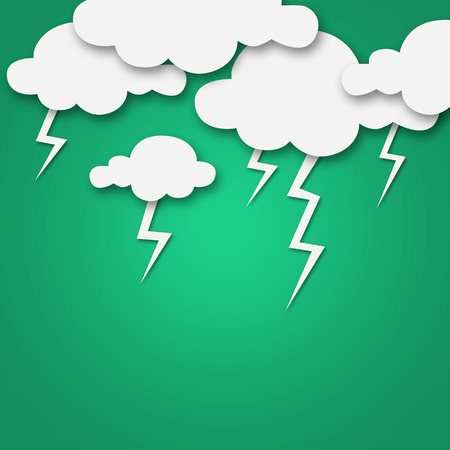 day forecast: Set of various white clouds on green background