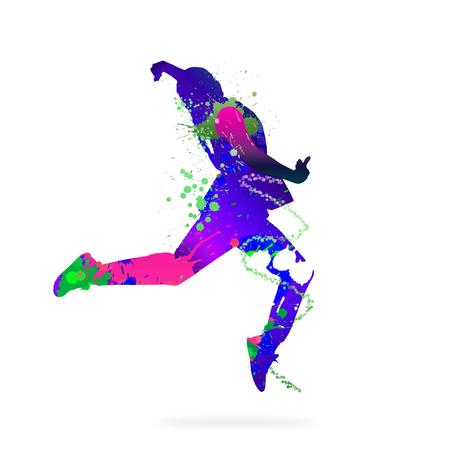 bailarines silueta: Imagen con la silueta de color de la bailarina en el fondo blanco Foto de archivo