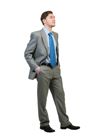 cheerful businessman: Full body of young confident businessman isolated on white background