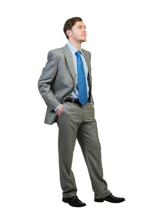 hombre de negocios: Todo el cuerpo de joven empresario confía aislados en fondo blanco