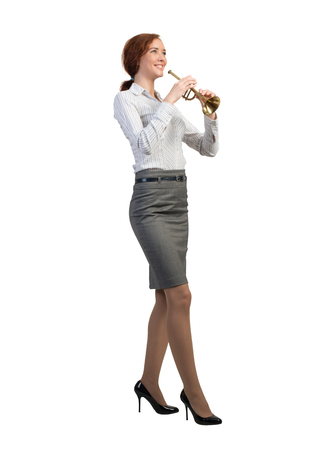 fife: Cheerful businesswoman playing fife isolated on white background Stock Photo