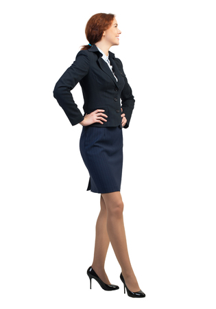 full lenght: Full lenght image of young confident businesswoman on white background