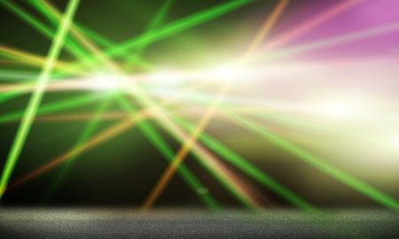 spot light on stage: Background image with stage blurred lights and beams Stock Photo