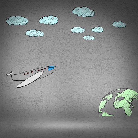 scratchy: Background image with flying drawn on wall airplane Stock Photo