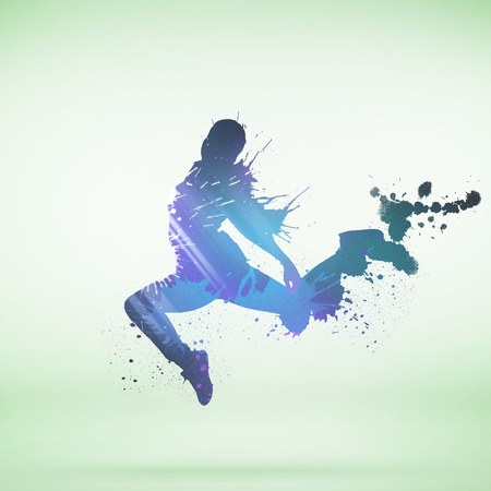 shape silhouette: Colorful silhouette of dancing person on white background