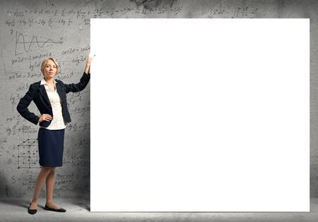 fullbody: Fullbody of blond businesswoman with white blank banner