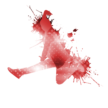school teens: Colorful silhouette of dancer in jump on white background