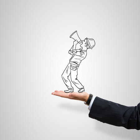 ingeniero caricatura: Drawn construction man in male palm on gray background