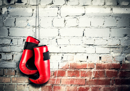 nailed: Boxing gloves hanging nailed to wall as concept of retirement