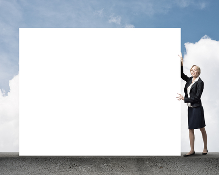 fullbody: Fullbody of businesswoman with white blank banner. Place your text