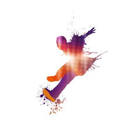 school teens: Colorful silhouette of dancing person on white background