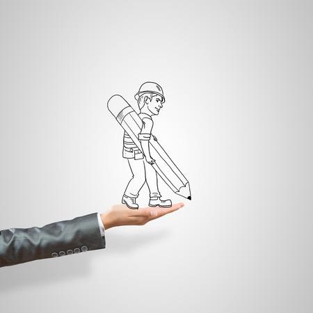 ingeniero caricatura: Drawn businessman in female palm on gray background