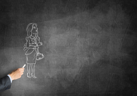 ingeniero caricatura: Male hand drawing with chalk sketch of businesswoman on blackboard