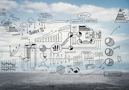 Infographic elementi tratti grafici e diagrammi sullo sfondo di nuvole