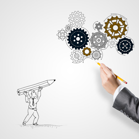 hand pencil: Hand drawing with pencil businessman and teamwork concept on white background