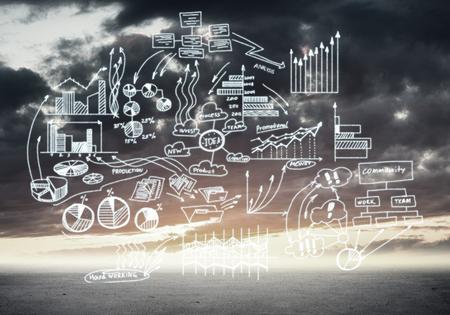 liderazgo empresarial: Infografía dibujados elementos gráficos y diagrama en el fondo de nubes