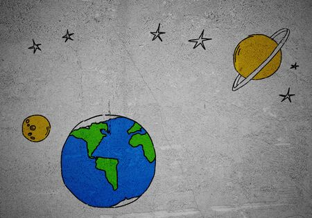 sketched shapes: Background image with drawn Earth planet on wall Stock Photo