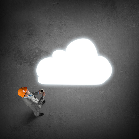 thought cloud: Top view of thinking engineer man and white thought cloud