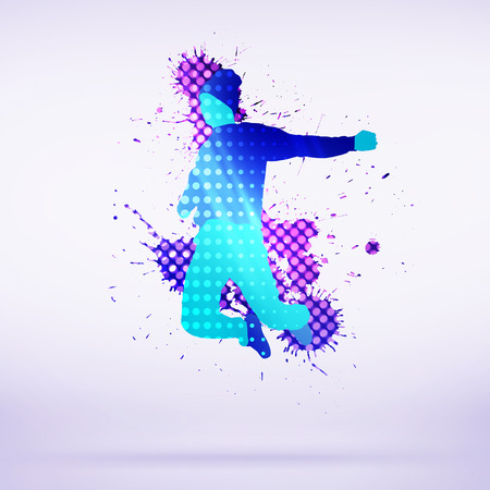 rap music: Colorful silhouette of dancer in jump on white background